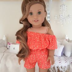 18 inch doll coral romper by SewCuteForever on Etsy