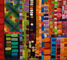 """Color Works by Cathleen Stechschulte & Paula Swett - 25 x 28 inches    """"Color Works"""" emerged serendipitously upon viewing test strips of textile paint hanging from a rack: complementary, analogous, and monochromatic color schemes…glorious eye-candy!"""