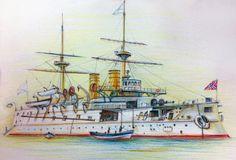 Acorazado Imperator Nikolai I (1891), capturado por Japón en la Batalla de Tsutshima en 1905 e incorporado a la Marina Imperial Japonesa con el nombre de Iki
