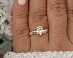 Forever Classic Moissanite Oval 8x6mm and Milgrain Diamond Wedding Band 14k Rose Gold Bridal Ring Set, Ring, Handmade Ring, Engagement Ring #weddingring