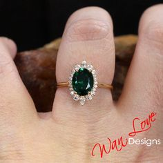 Emerald Diamond Sunburst Oval Round Pear Halo Engagement Ring 3ct 9x7mm Custom Wedding Anniversary
