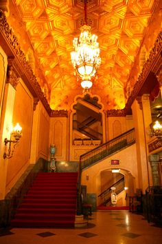 Lobby of the Tucker Theatre Sweet Home Alabama, Still Standing, Theater, Beautiful Places, Tours, Opening Night, Staircases, History, Historia