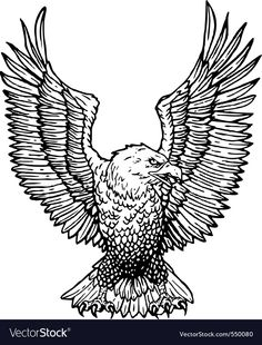 Eagle vector image on VectorStock Eagle Artwork, Africa Tattoos, Eagle Images, Wood Burning Stencils, Eagle Vector, Animals Black And White, Stencil Patterns, Tattoo Stencils, Ancient Symbols