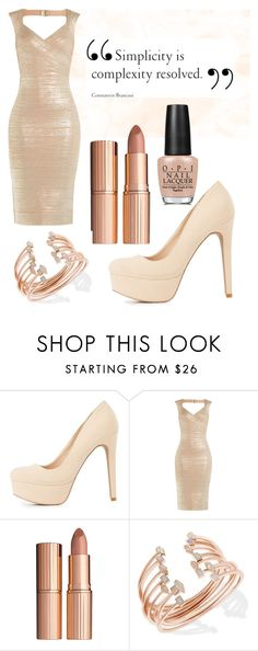 """""""Nude"""" by siri12345 ❤ liked on Polyvore featuring beauty, Charlotte Russe, Hervé Léger, Charlotte Tilbury, Kendra Scott, OPI and nudelip"""