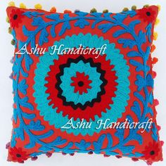 16'' Indian Cotton Embroidery Suzani Design Pom Pom Decor Cushion Pillow Cover 5 #Unbranded #ArtDecorStyle