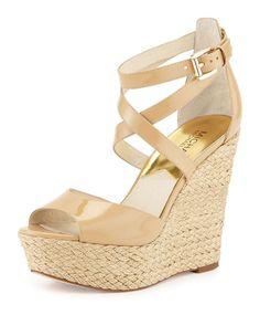 MICHAEL Michael Kors Gabriella Patent Leather Wedge Sandal, Nude