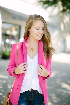 pink blazer, block monogram necklace, destroyed skinny jeans, leather riding boots | how to style a blazer | blazer fashion tips | fall fashion | fall style | fashion for fall | style ideas for fall | cool weather fashion | fashion tips for fall || a lonestar state of southern #destroyedjeans #fallfashion