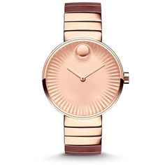 Movado Edge Rose Goldtone Stainless Steel Bracelet Watch ($1,045) ❤ liked on Polyvore featuring jewelry, watches, apparel & accessories, rose gold, bracelet watch, movado watches, polka dot jewelry, rose gold tone watches and movado jewelry