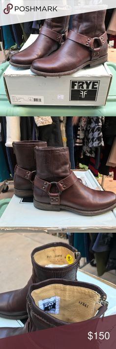 Frye Phillip harness dark brown boots 5.5B Women's dark boot / Blmingdales / new in box / imported / model : Phillip harness / heel 1/2 in/ cushion / all leather Frye Shoes Ankle Boots & Booties