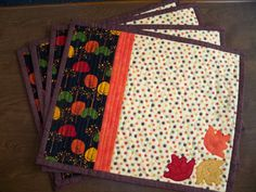 Tumbling Applique Leaves Quilted Placemats Set of 4. $56.00, via Etsy.