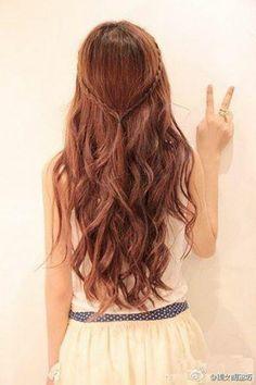 hip long brunette hair