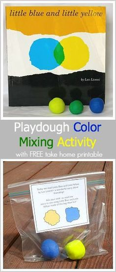 A fun playdough color mixing activity with a free take-home printable! (Based on Leo Lionni's Little Blue and Little Yellow) #homedaycare