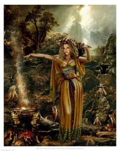 """Maeve….Celtic Goddess of Earth, fertility and war. Also known as Queen Maeve and known as Mebd. She was a great conqueror and enjoyed enslaving the men of the Armies she defeated as spoils of war to pleasure her at will. A VERY lustful woman. Also known as the """"Drunk Woman"""". The mere sight of Maeve or Medb blinds enemies, and she runs faster than the fastest horse. A lewd woman, she needs thirty men a day to ease her sexual appetite. Also a fertility Goddess."""