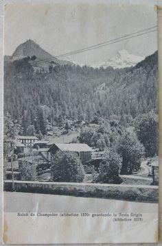 1922 Saluti da Campoluc (altitudine 1570) guardando la Testa Grigia (altitudine 3375) EG semper Jadem cartolina con francobollo Italia da 15 centesimi