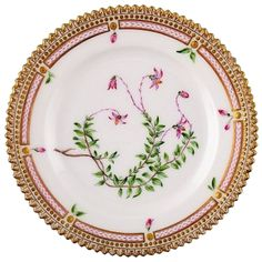 Antique Royal Copenhagen Flora Danica Dessert Plate, 20/3552 | From a unique collection of antique and modern dinner plates at https://www.1stdibs.com/furniture/dining-entertaining/dinner-plates/