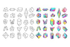 Vector collection of crystals. Geometric icons and shapes. Trendy hipster retro backgrounds and logotypes. http://crtv.mk/g02F9