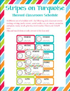 """FREE Stripes on Turquoise Themed Classroom Schedule from Sunrise and Shine on TeachersNotebook.com -  (25 pages)  -   Inspired by my Dots on Turquoise classroom border, I was looking for something a little different so my room wasn't too """"spotty"""" so I created this to blend and boy does it look good!"""