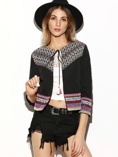 25a034fe4e24 Black Tribal Yoke Tie Neck Quilted Jacket With Embroidered Tape Leather  Jackets Online