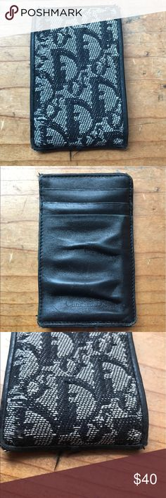 """Christian Dior Card Case Christian Dior Card Case - Black and White """"Dior"""" logo. Wear and tear on corners. 3 slots and 1 side slot Christian Dior Bags Wallets"""