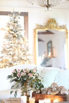 Furniture Layouts With The Lake House Silver And Gold French Country Christmas: Discover Metallic Blush And Blue Ornaments And Classic Pink Roses For A Romantic Christmas Home. French Country Christmas, Cottage Christmas, Christmas Living Rooms, French Country Cottage, French Country Decorating, Gold Christmas, Christmas Home, Christmas Trees, Christmas Trimmings
