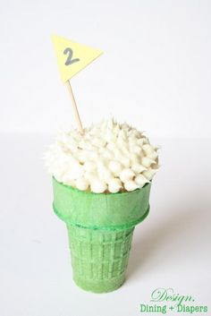 Golf cupcakes in an ice cream cone!