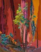 """""""Vermillion IV"""" (sold) Grace Harbin Wever is a self-taught mixed media artist whose studio and home are near Westcliffe, Colorado.  Her collages incorporate brilliantly-colored layers of silk, hand-dyed cotton, metallic and synthetic fabrics, paper and thread. Iridescence and transparency bring additional light and airiness to her work, while stitching embellishes the design and adds texture and three-dimensionality."""