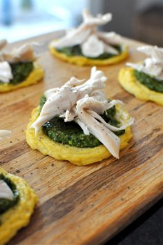 Cauliflower & Egg make the base of this tasty appetizer. Topped with pesto and chicken. | via Fed and Fit