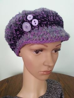 Newsboy Hat, Crochet Women's Hat, Winter Hat, Bulky Newsboy Hat Women's Accessories Purple Hat by MaraLunaDesign on Etsy