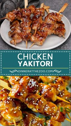 Grilled chicken yakitori skewers coated in homemade teriyaki sauce. Grilled Chicken Recipes, Healthy Chicken Recipes, Healthy Dinner Recipes, Cooking Recipes, Fried Chicken, Healthy Food, Grill Recipes, Yakitori Chicken Recipe, Japanese Yakitori Recipe