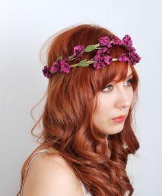 Erianthe - plum floral wreath.