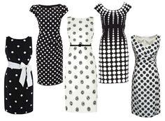 Polka dot pencil dresses
