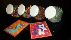 Mini candy jars filled with m&m's, maltesers, skittles & sour candy. #mylittlepony