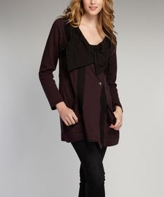 Another great find on #zulily! Black & Wine Drawstring Organic Jacket by Indigenous #zulilyfinds