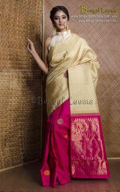 Pure Handloom Patli Pallu Kanjivaram Silk Saree in Pista Green and Rani