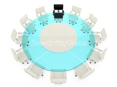 Round glass conference table with white chairs
