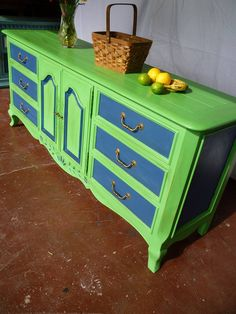 A dresser finished in an uplifting color palette of Antibes Green & Napoleonic Blue Chalk Paint® decorative paint by Annie Sloan Green Painted Furniture, Paint Furniture, Furniture Projects, Furniture Making, Annie Sloan Florence, Antibes Green, Wardrobe Bed, Napoleonic Blue, Make Chalk Paint