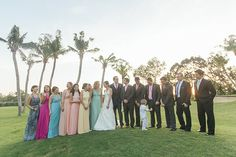 Bride and Groom with Entourage | http://brideandbreakfast.ph/2014/07/23/a-seaside-bliss/ | Photographer: Rock Paper Scissors Photography