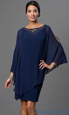 Cold Shoulder Navy Blue Short Dress