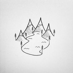 A fun little alpine lake illustration that I'm. A fun little alpine lake illustration that I'm working on today Super Easy Drawings, Easy Flower Drawings, Cool Simple Drawings, Simple Doodles Drawings, Tumblr Drawings Easy, Easy Doodles Drawings, Cute Little Drawings, Doodle Drawings, Cartoon Drawings