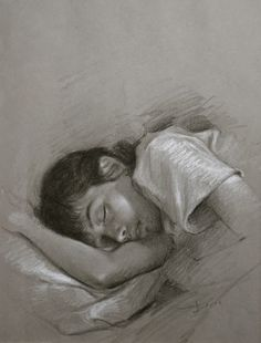 """Morteza Katouzian """"The Sleeping child""""  (An afternoon in the summer of 88) Black pencil & chalk on grey paper."""
