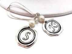 Alphabet Monogrammed Earrings  Initial Monogrammed by 4Everinstyle, $26.00