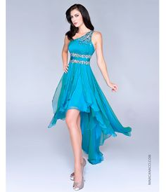 Teal Masquerade dresses | 2014 Prom Dresses - Teal Ruched Chiffon & Beaded High-Low Prom Dress ...
