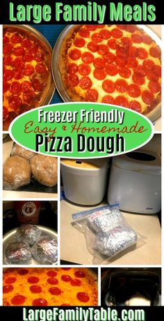 Make homemade freezer friendly pizza dough in the bread machine with this easy large family recipe! Batch cook several at a time and have pizza for months! Budget Freezer Meals, Cooking On A Budget, Freezer Cooking, Freezer Dinner, Real Cooking, Large Family Meals, Easy Family Meals, Easy Meals, Family Recipes