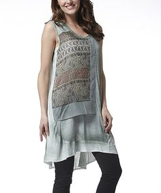 Another great find on #zulily! Green Abstract Hi-Low Tunic by Simply Couture #zulilyfinds