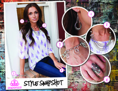 { Style Snapshot } When pairing accessories, look for similar elements in each piece. In this week's Style Snapshot, you can see the rhinestones from the earrings connecting with the matching stones on the ring. Additionally, the chains on the earrings highlight similar shapes in the necklace and the bracelet, pulling the whole look together! As an added bonus, the floral elements of the ring add femininity to the ensemble and play well with the pattern of the model's shirt.