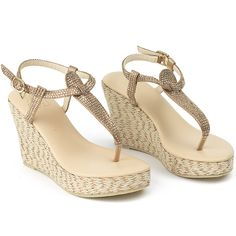 0e6ec629da48 Genuine leather and jute wedge adorned with crystals. Heel height is 4  inches. Upper