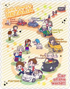 Hetalia characters and their cars. The number of little cute details in this is just great! - Art by Mori Pantsu