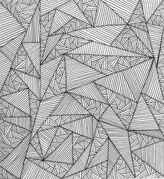 Geometric Pattern - fine line pen drawing with graphic triangle ...