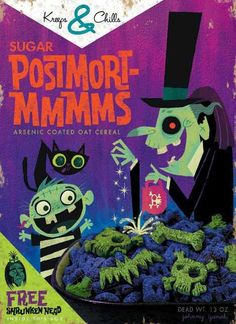 Cereal Killer illustration by Johnny Yanok Halloween Art, Vintage Halloween, Happy Halloween, Halloween Humor, Halloween Queen, Halloween Labels, Halloween 2017, Cereal Killer, Monster Party