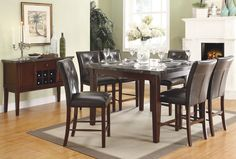Home Elegance Decatur Collection Counter Height Table Marble Top 2456-36